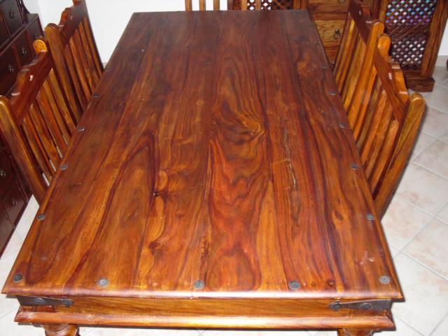 Table 6 chaises salle manger en bois massif - Table manger bois massif ...