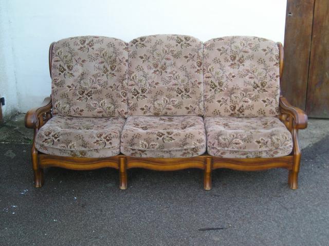 Canap rustique et ses 2 fauteuils ameublement maison for Canape rustique