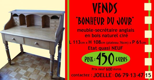 bonheur du jour meuble secr taire anglais ameublement maison paris 75000 annonce. Black Bedroom Furniture Sets. Home Design Ideas