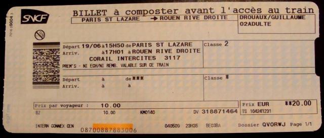 Billet de train prem