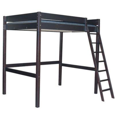 lit mezzanine bois laqu noir 2 places ameublement. Black Bedroom Furniture Sets. Home Design Ideas