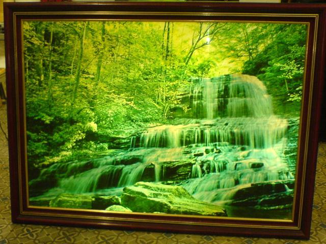 Cadre fontaine lumineux paysage f ret et rivi re d coration maison taverny - Cadre lumineux cascade ...